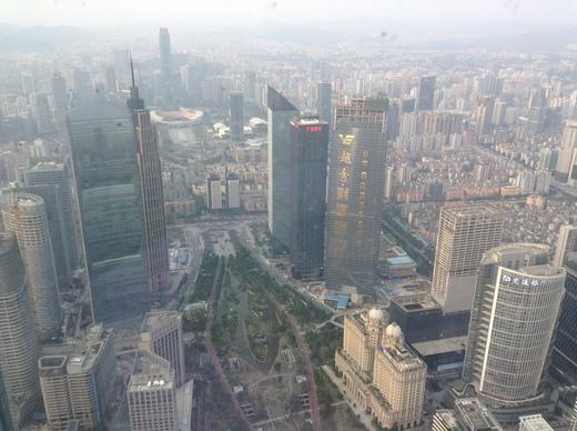 "уанчжоу. Вид на город с 100-го этажа небоскрёба ""Западная башня"""